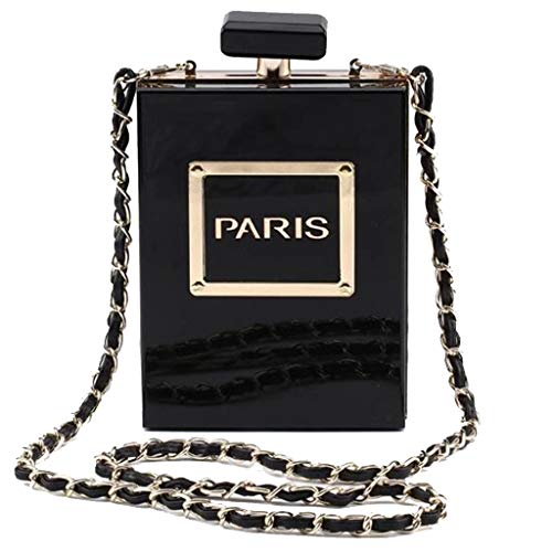 Women Acrylic Black Paris Perfume Shape Evening Bags...