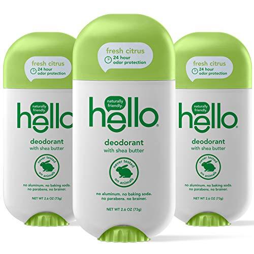Hello Shea Butter Fresh Citrus Deodorant for Women +...