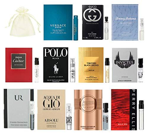 11 Designer Cologne Samples Vials For Men with Organza...